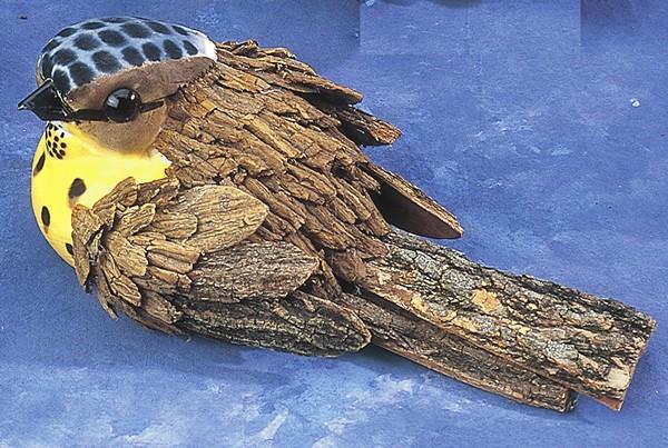 "Bird Brown Tree Bark w/Yellow 8.5"""