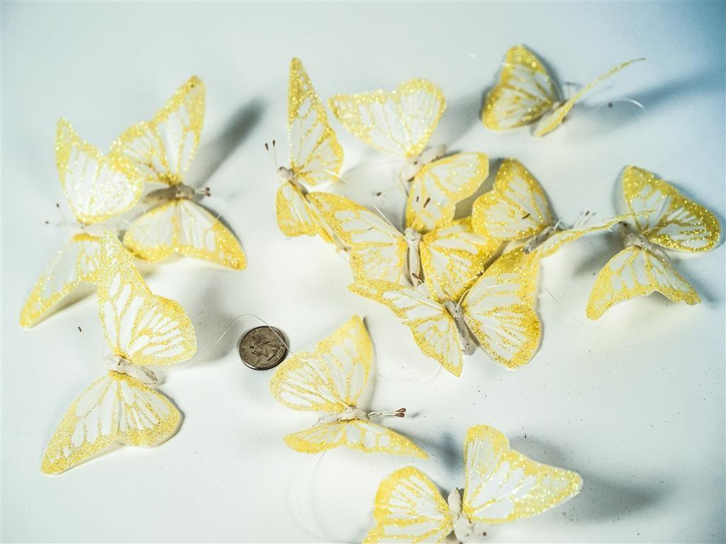 "Butterfly Garland Yellow w/Glit 4"""