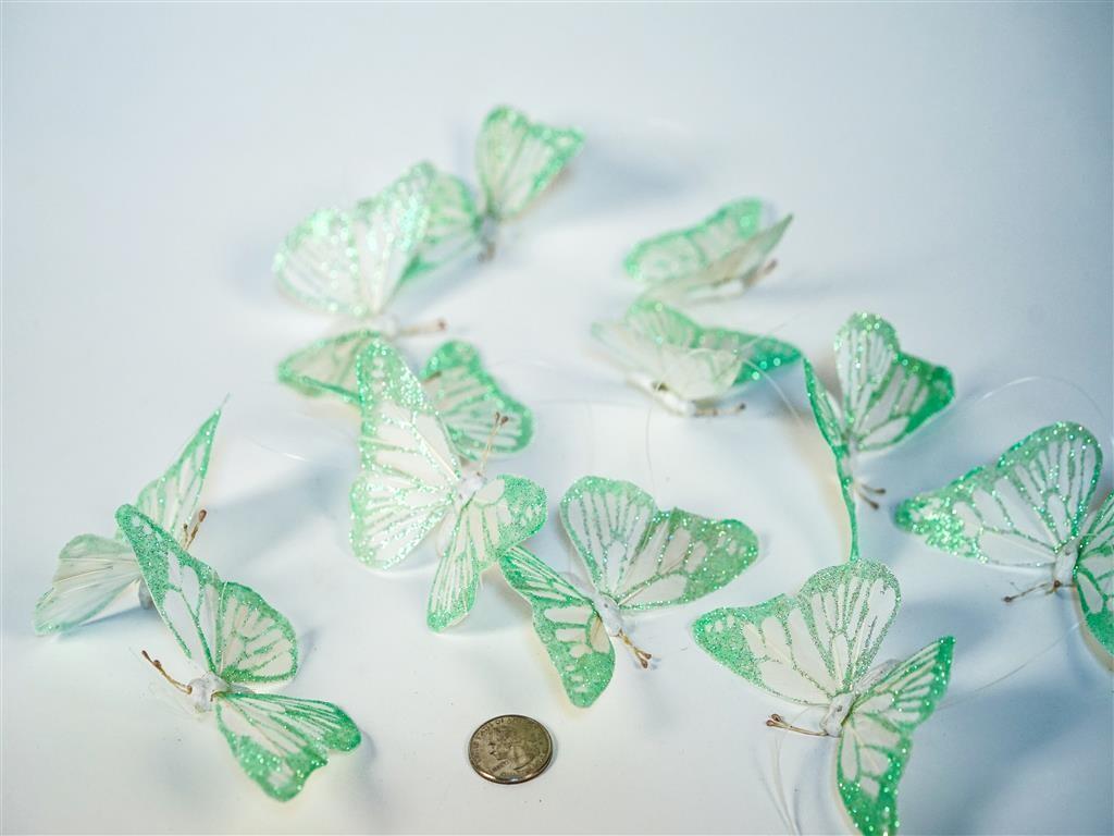 """Butterfly Garland Green w Glit 4"""""""