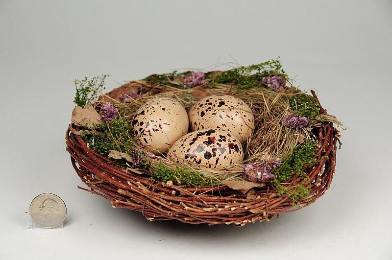 "Nest Fancy Brown Twig/Grass/Egg 8"""