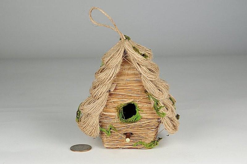 """Birdhouse A-Shape Jute/Grass/Moss 4.5"""""""