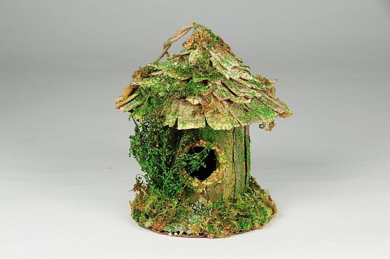 "Birdhouse Rd-Shape Bark/Moss 4"""