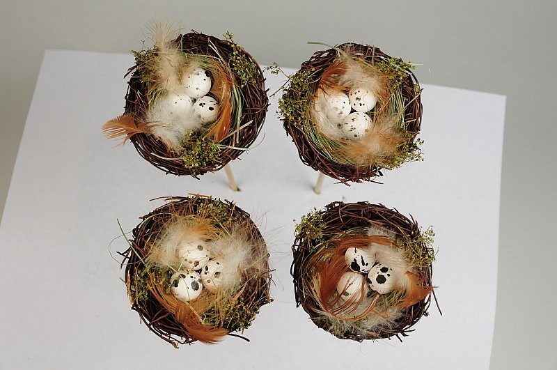 """Nest Pick Brown Twig/Feather/Egg x4 2.5"""""""