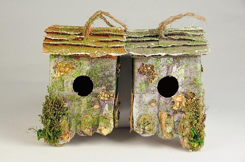"""Birdhouse Hanging Bark/Lichen Wall Asst*2 4"""""""