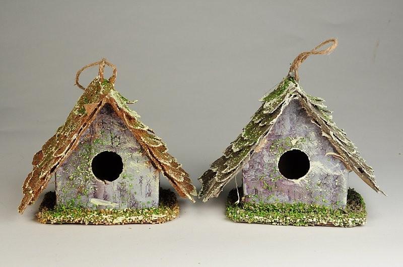 """Birdhouse A-Shape Woodchip w/Moss Asst*2 4.5"""""""