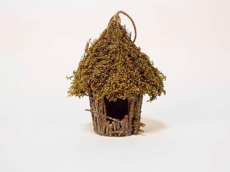 """Birdhouse Rd-Shape Brown/Green Grass 5"""""""