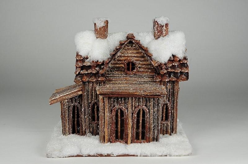 "House Snow Log Cabin 10""x9.5""H"