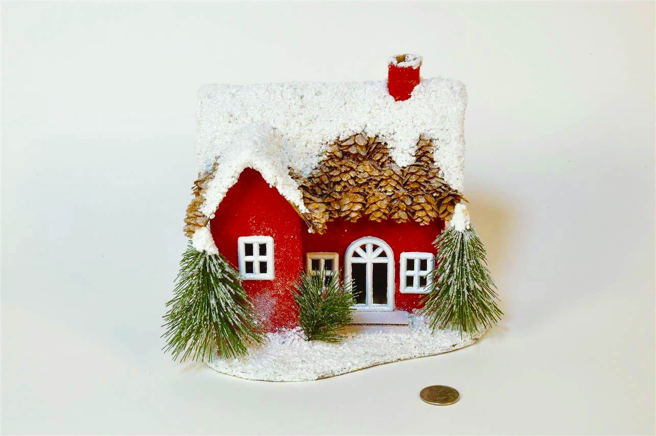 House Red w/Cone Roof/Snow 8""
