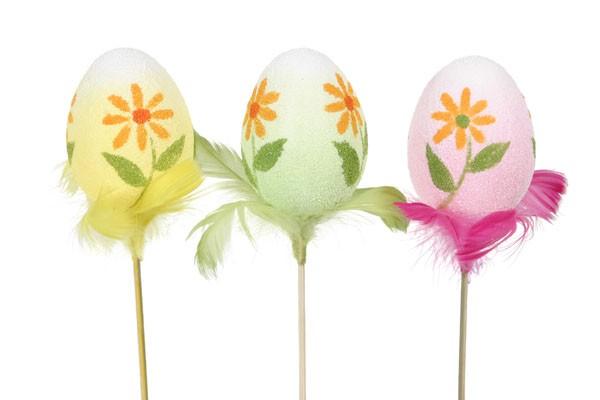 "Egg Pick Painted w/flower Pick 2.5"""