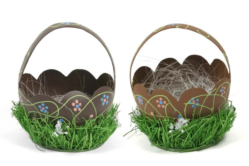 Egg Shell Chocolate Basket Asst*2 7""
