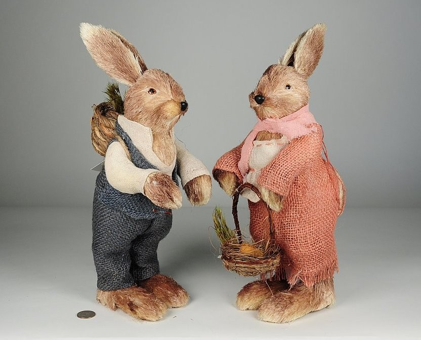 """Rabbit Brn Jute w/Blu/Pnk Clothes Standing Asst*2 15"""""""