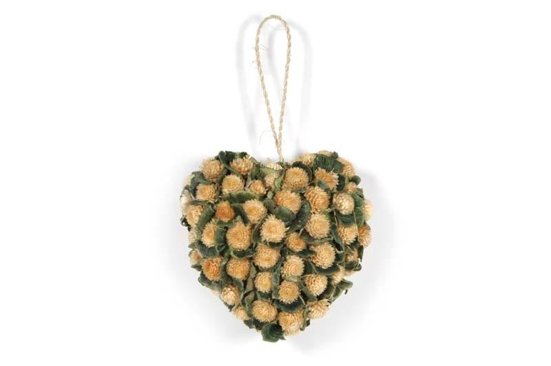 "Wreath Heart Nat. Thristle/Grn Fugus 4.5"""