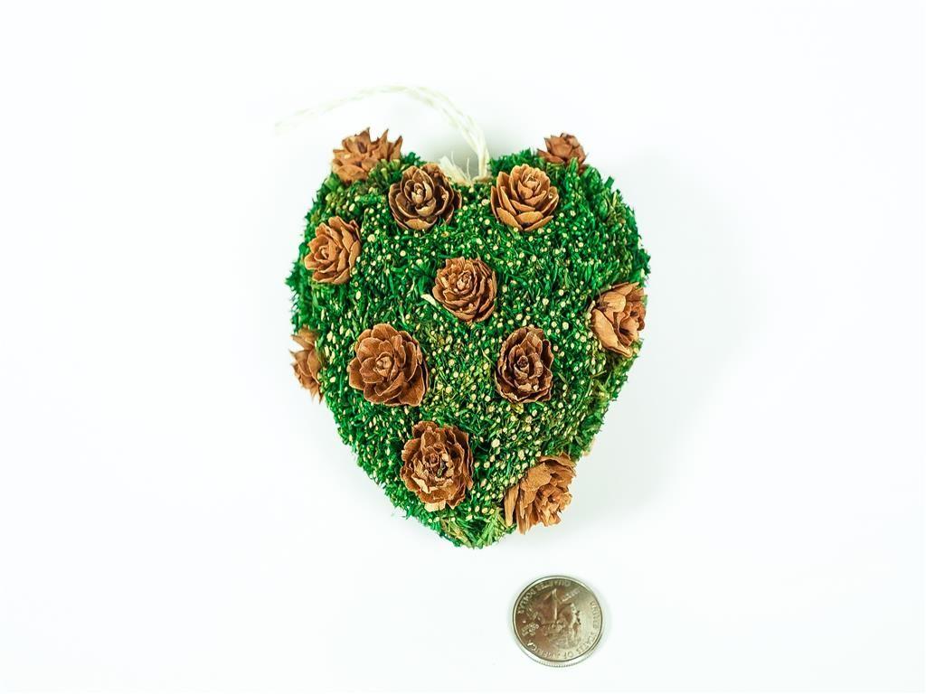 """Wreath Heart Green Grass/Twig/Brn Flwr 3.5"""""""