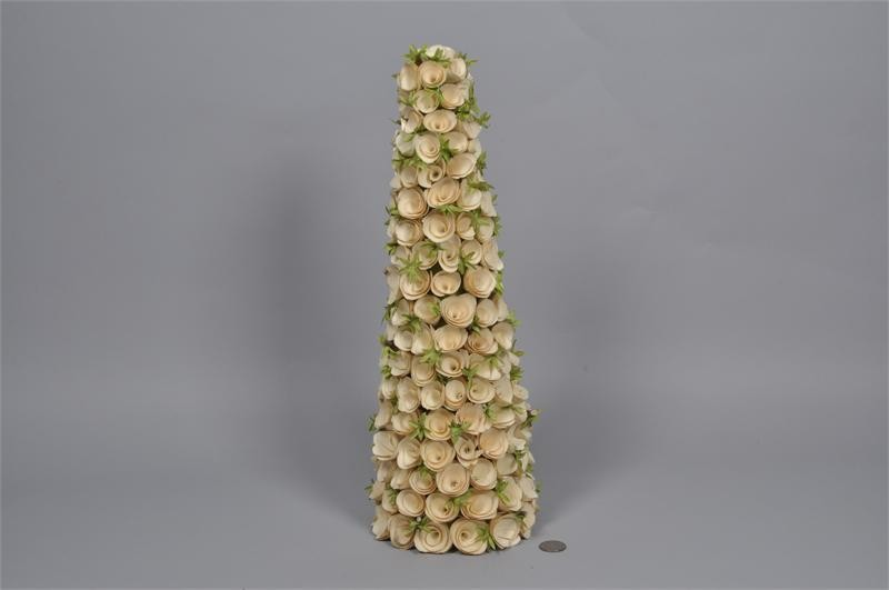 Tree Cone Cream Woodchip w/Leaf 17.5""