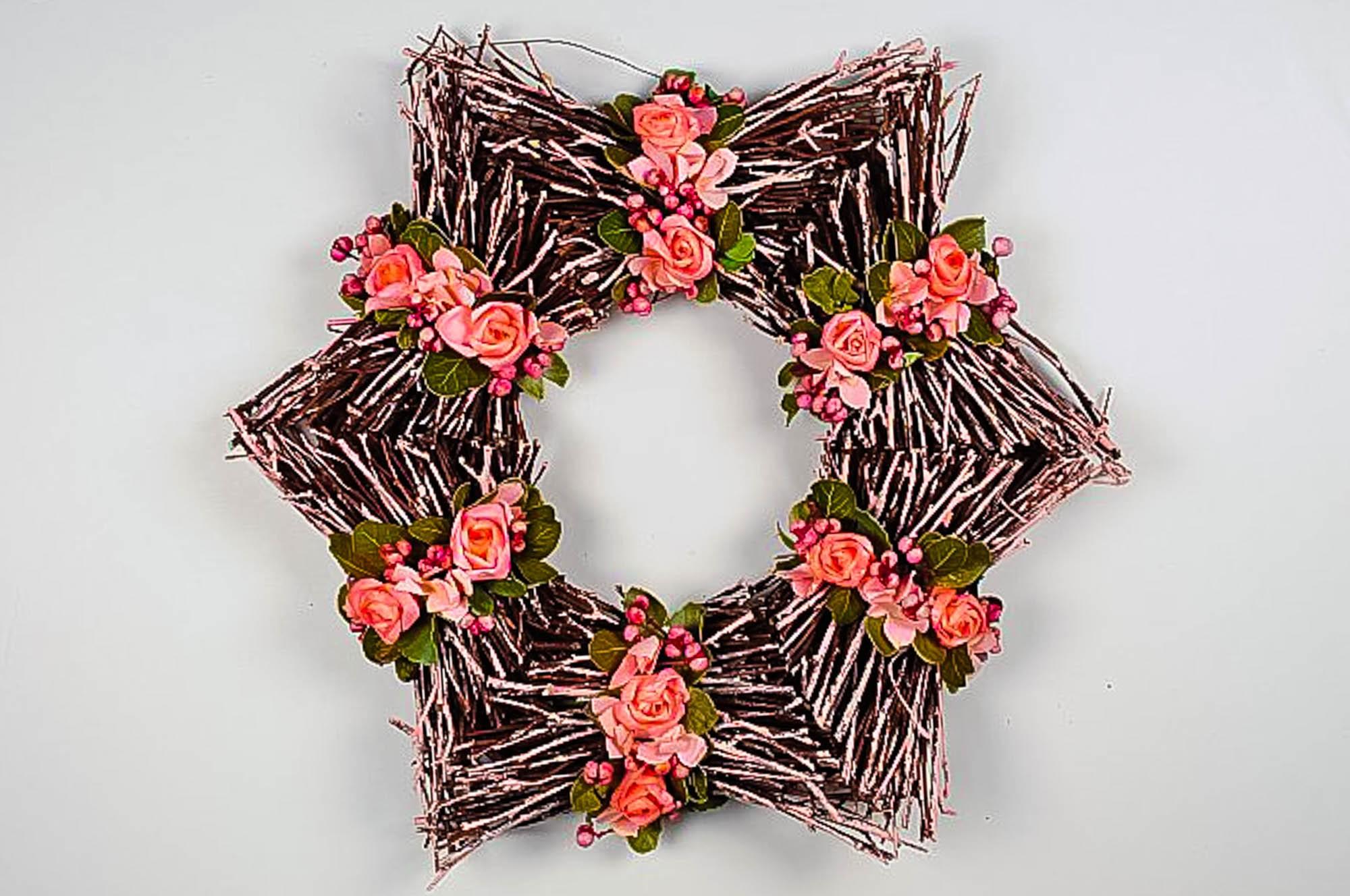 """Wreath Star Twig w/Peach Flower 16"""""""