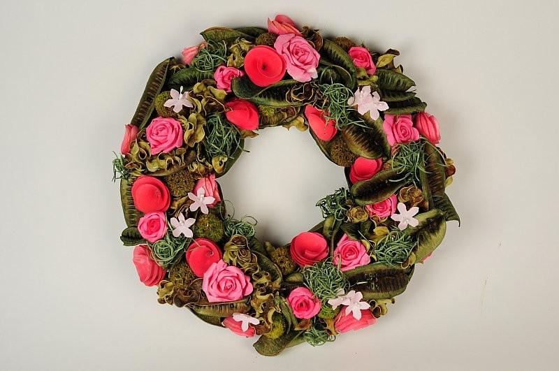 """Wreath Green Pod/Moss w/Pink Rose 12"""""""