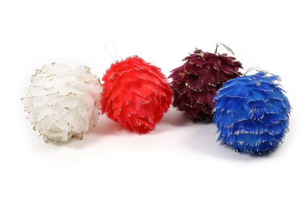 Ball Multi-Color Feather Asst*6 4.5""