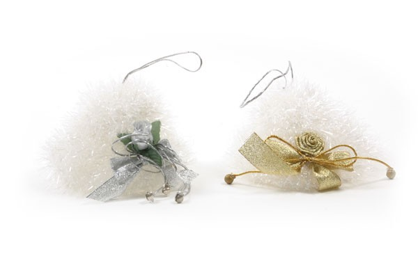 "Hat White Tinsel G/S Ribbon w/Hanger 5"""