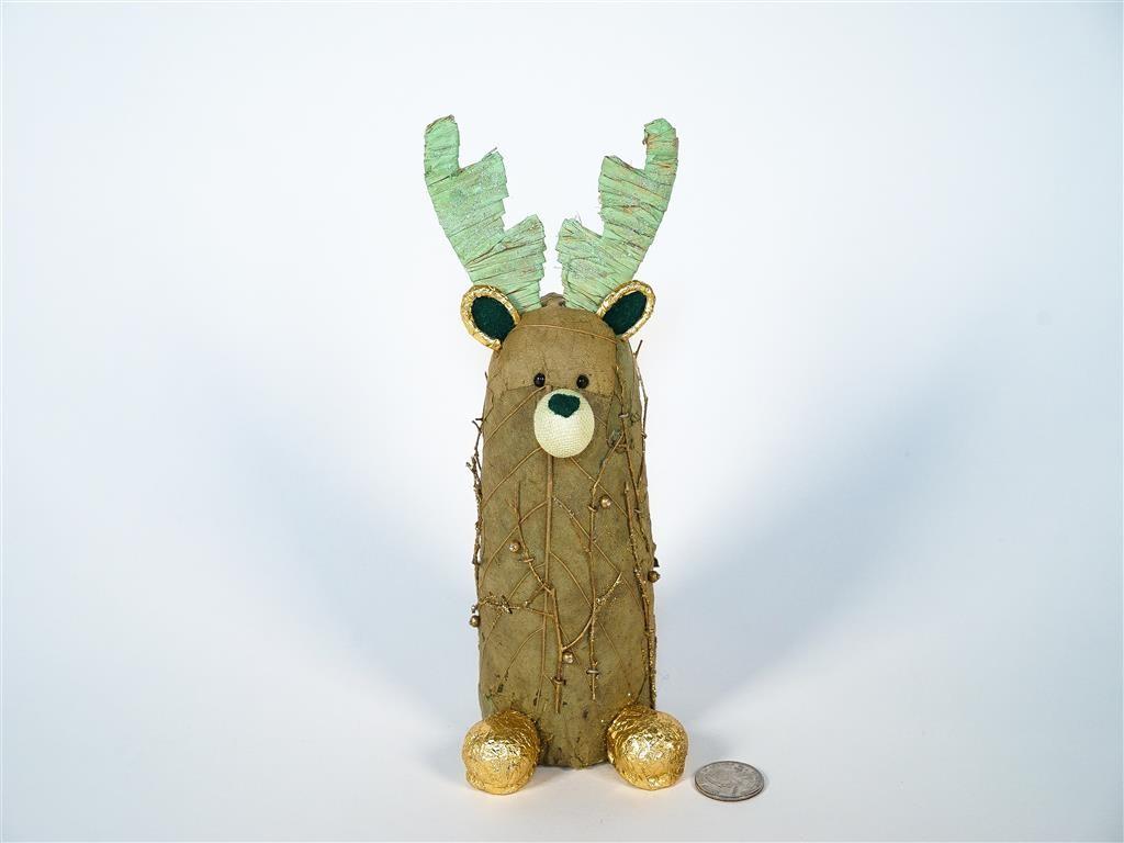Reindeer Brn/Gn/Gold In Cylinder