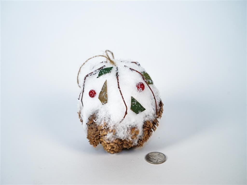 Ball Brown Cone w/Snow/Berry/Hanger 4""