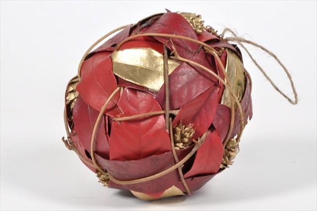 """Ball Red/Gold Leaf/Cone/Twig 5.5"""""""