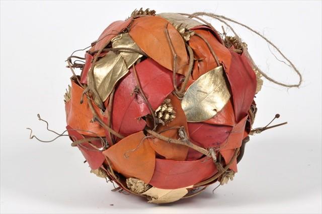 """Ball Orange/Gold Leaf/Cone/Twig 5.5"""""""