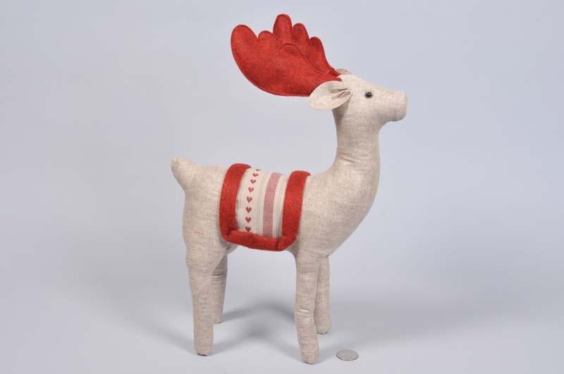 "Deer Lte Brn/Red Stuffed Cloth Standing 12.5"""