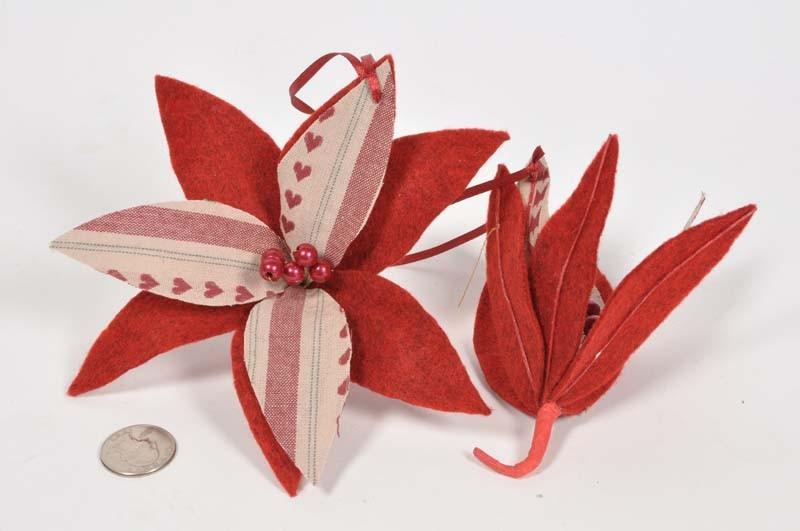 "Poinsettia Red Hand Sewn Ornament 3.5"""