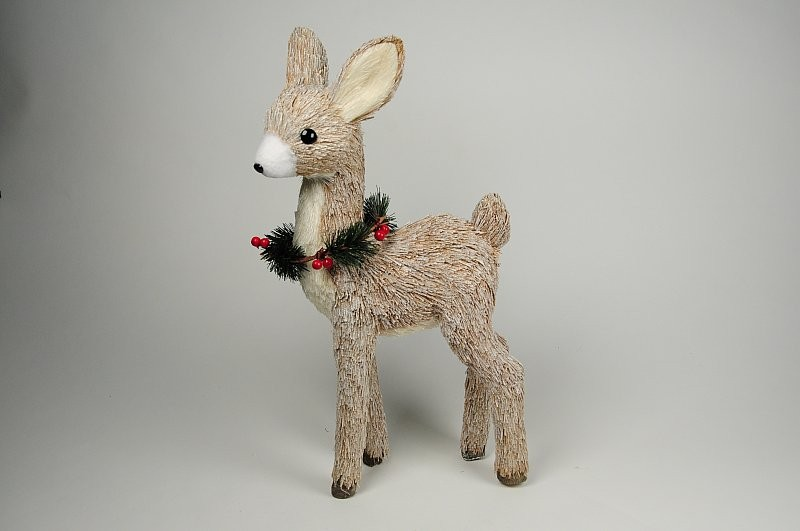 Deer Nat. Jute w/Snow/Berry Standing 19""