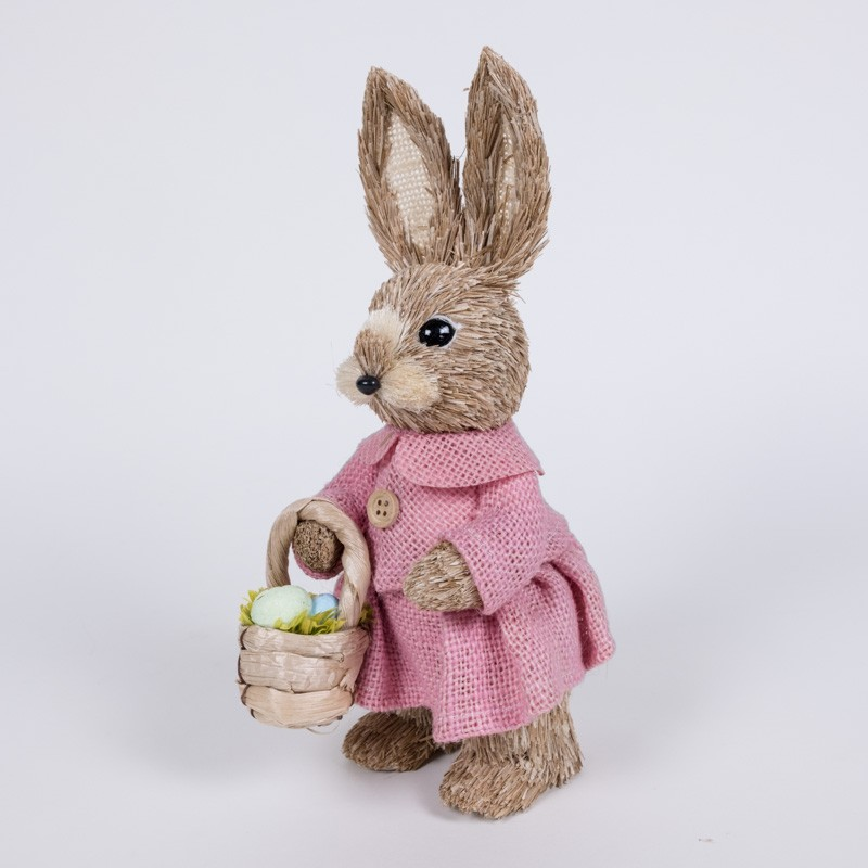 Rabbit Nat Jute on Pink Dress w/Basket 10""