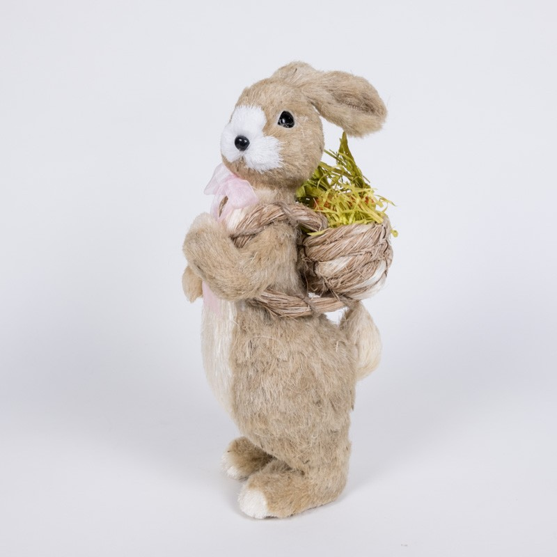 Rabbit Nat Jute w/Pink Bow Carrying Back Basket 8""