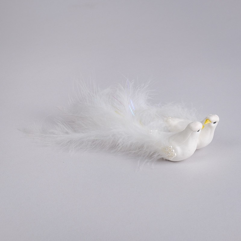 "Dove White w/Fuzzy Tail/Clip Asst*2 5.5"""