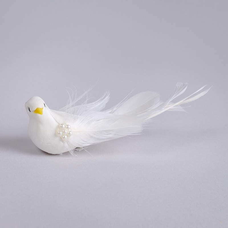 Bird White Feather w/Pearl/Long /Clip 6.25""