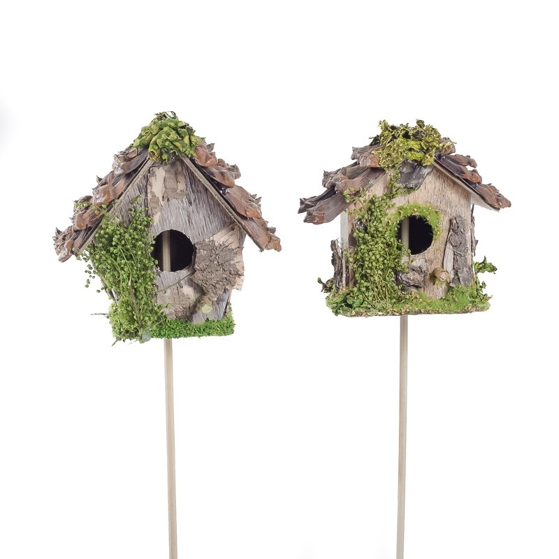 Birdhouse A-Shape w/PCone Roof Pick Asst*2 3""
