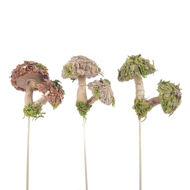 """Mushroom Pick Double Grass Asst*3 4"""""""