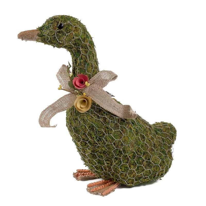 """Duck Green Moss w/Wire Wrap/Ribbon 13.5"""""""