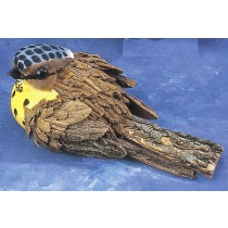 Bird Brown Tree Bark w/Yellow 8.5""
