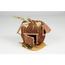 "Birdhouse Apple-Shape Brown Moss 4""x4"""