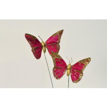 Butterfly Red w/Gold Glit 4""