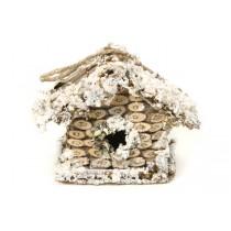 """Birdhouse A-Shape Woodchip/Snow 4.5"""""""