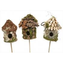 """Birdhouse Rd-Shape Cone/Woodchip Pick Asst*3 3"""""""