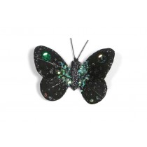 Butterfly Black w/Blue Glit 3""