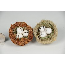 Nest Brown Seed/Grn Moss/Egg Asst*2 2""