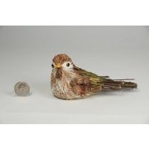 "Bird Jute Brown w/Grn Twig Tail 2.5"""