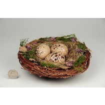 Nest Fancy Brown Twig/Grass/Egg 8""