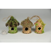 Birdhouse Rd-Shape Grass/Bark Asst*3 2""