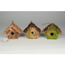 Birdhouse A-Shape Grass/Bark Asst*3 3.5""