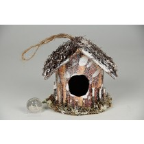 Birdhouse A-Shape Twig/Bark/Snow/Glit 4""