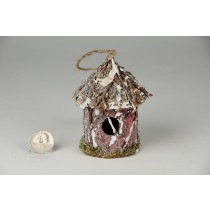 Birdhouse Rd-Shape Twig/Bark/Snow/Glit 3""