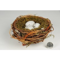 Nest Fancy Brown Twig/Grass/Egg 6""
